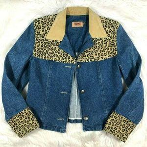Vintage Frontier Denim Jean Jacket Leopard Leather